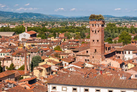 Aerial view of Lucca, in Tuscany; the tower on the right is called Imagens