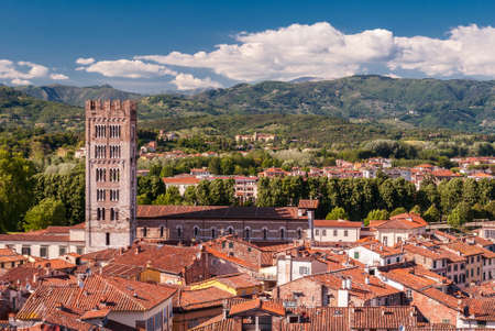 Aerial view of Lucca, in Tuscany, during a sunny afternoon; the bell tower belongs to the San Frediano church Imagens
