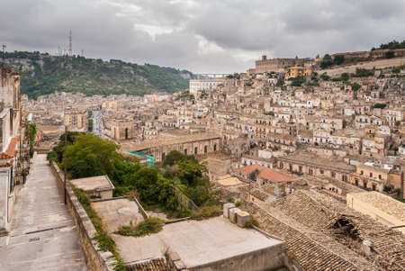 View of Modica, small town in Sicily