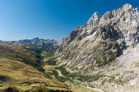 Panoramic view of Val Ferret, in the eastern rim of Mont Blanc massif