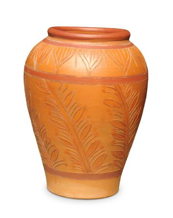 pot light: Brown pottery made of clay Stock Photo