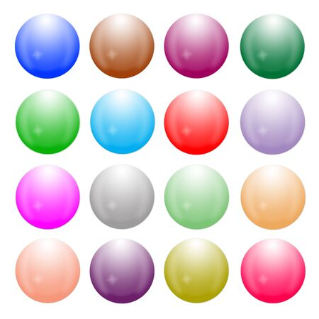 Sixteen orbs are arranged on white background photo