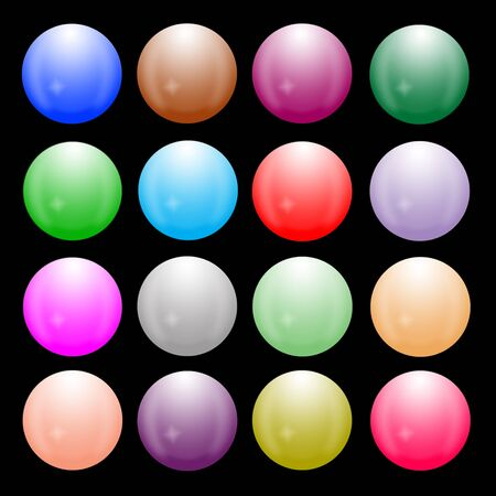 Sixteen orbs are arranged on black background photo