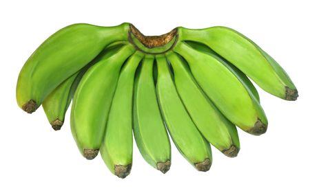 plantain: Green banana known as Plantain Stock Photo