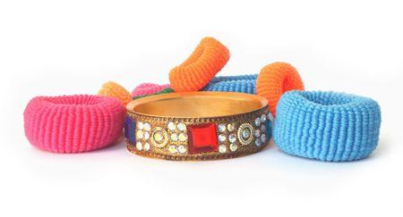 Hair elastics with stone bracelet photo
