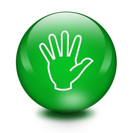Glass buttons of hand sign photo