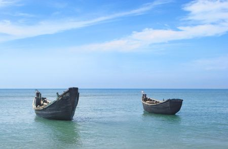bangladesh: Two fishing boats at the shore of the Saint Martins island of Bangladesh Stock Photo