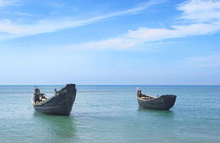 Two fishing boats at the shore of the Saint Martins island of Bangladesh Stock Photo