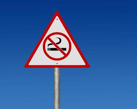 Road sign of no smoking photo