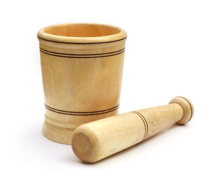 Wooden mortar with pestle Stock Photo - 7413606