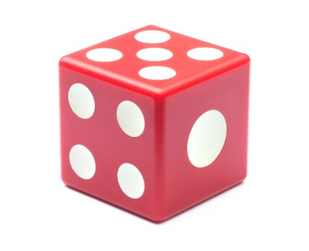 Red dice over white background photo