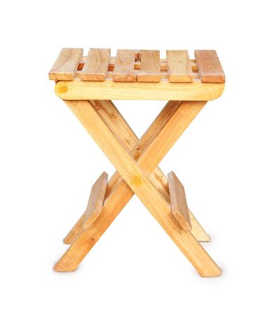 Wooden folding stool photo
