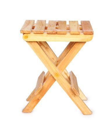 Wooden folding stool photo