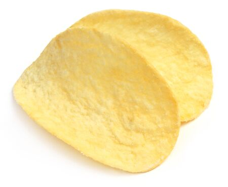 crisps: Potato crisps isolated over white background Stock Photo