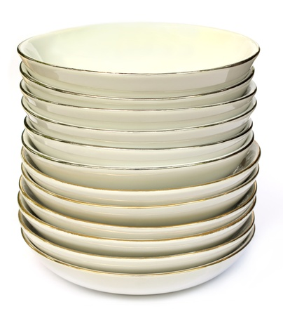 Ceramic dish over white background photo