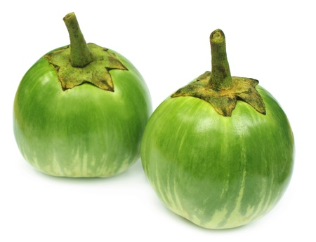 brinjal: Two eggplants over white background