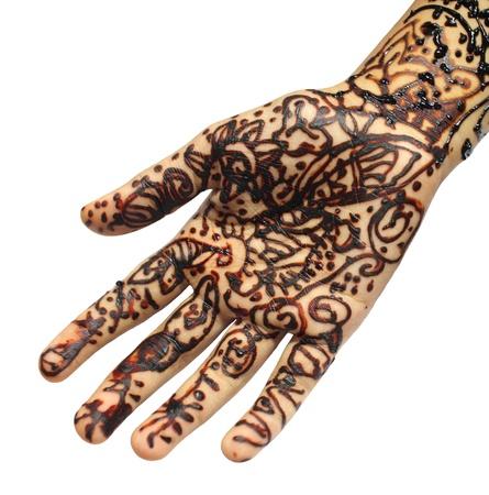 fille arabe: Tatouage henn� Banque d'images