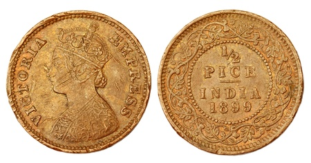 Old Indian coin of colonial regime Stock Photo - 10926240