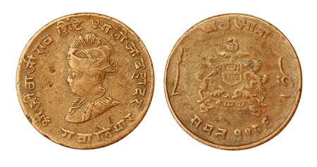 seventieth: Old Indian coin of seventieth century inscribed the portrait of king Shivaji