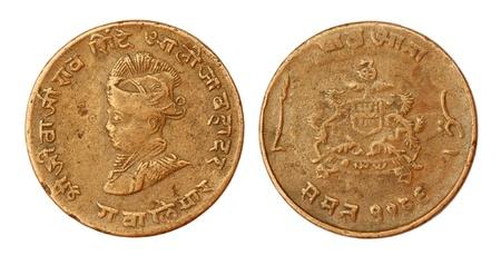 seventieth: Old Indian coin of seventieth century inscribed the portrait of king Shivaji