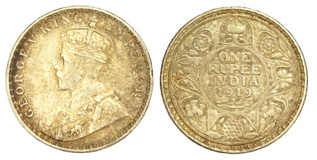 Old Indian One Rupee Coin of 1919 photo