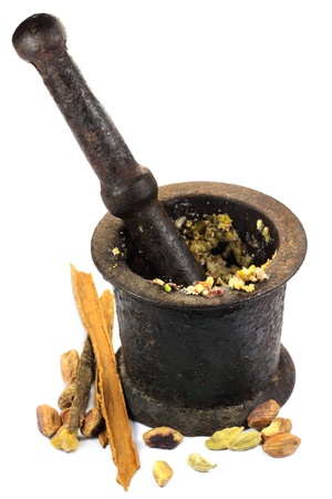 Spices with vintage mortar Stock Photo - 11190021