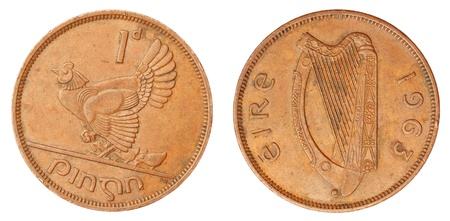 Old Irish Coin of Hen Penny 1d of 1963 photo