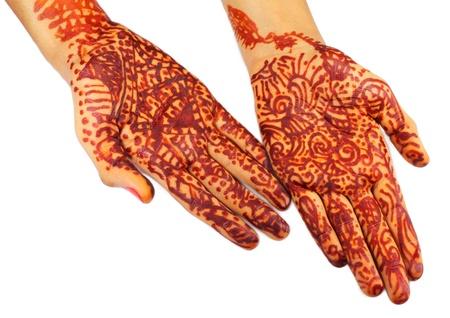 mehendi: Henna tinted hands Stock Photo
