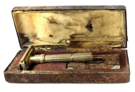 Vintage razor box over white background Stock Photo - 11506695