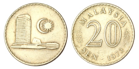 Malaysian Coin of 20 SEN of 1973 Stock Photo - 11512558
