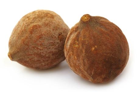 myrobalan: Terminalia bellericais or medicinal Bahera fruits of India Stock Photo