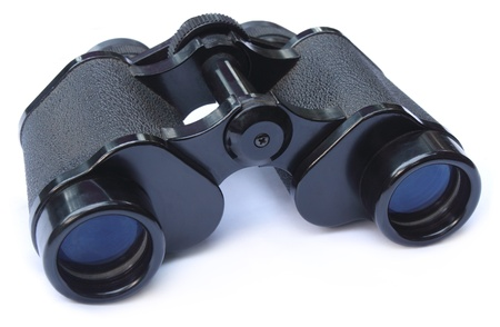Binoculars over white background photo