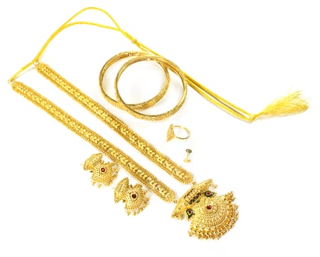 Wedding gold jewelry for Indian bride Stock Photo - 15777950