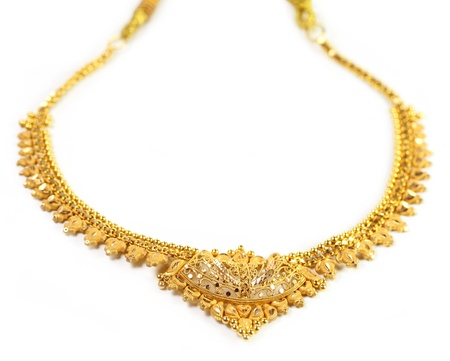 indian bride: Indian gold necklace Stock Photo