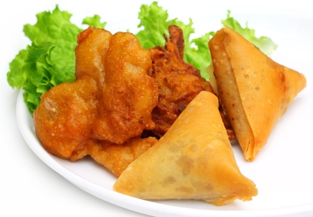 subcontinent: Fried mushroom with salad items of Indian subcontinent