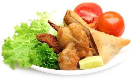 subcontinent: Fried mushroom with samosa and salad items of Indian subcontinent
