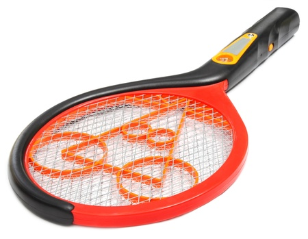swelter: Mosquito killing racket over white background Stock Photo