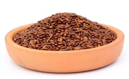 Flax or edible tisi seeds on a clay pottery Stock Photo - 17723766