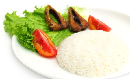Fresh rice with fried hilsa or Ilish fish of Southeast Asia Stock Photo - 19286571