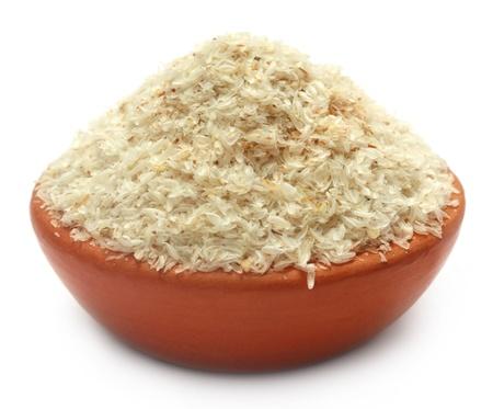 purgative: Medicinal Isabgol or psyllium husks on a clay pot