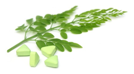 ben oil: Edible moringa leaves with pills Stock Photo