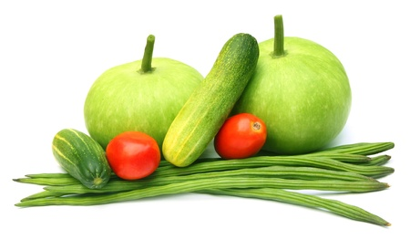 oleifera: Fresh vegetables � Bottle gourd, cucumber, tomato and moringa oleifera Stock Photo