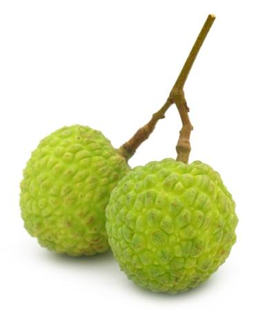 lichi: Green Lychee over white background Stock Photo