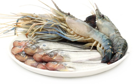demersal: Fresh water Pabda fish with Lobster