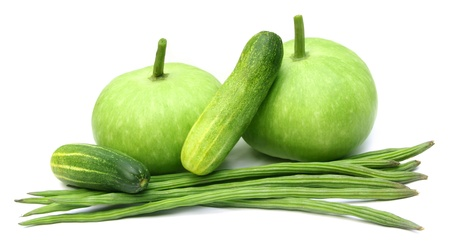 Fresh vegetables – Bottle gourd, moringa and cucumber Stock Photo - 21075283