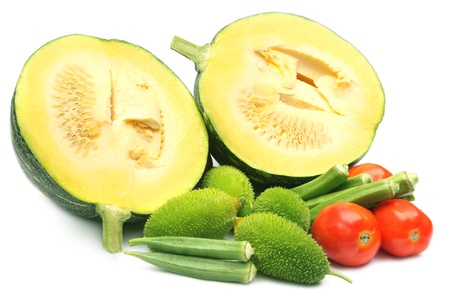 Fresh vegetables – green pumpkin, tomato and okras, and kakrol Stock Photo - 21186060