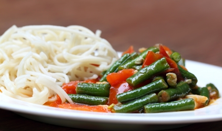 Noodles with curry of yard long bean photo