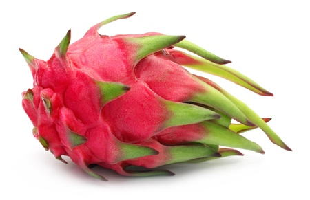 Close up of a dragon fruit over white background photo