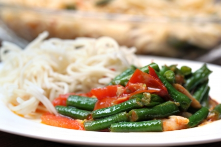 Noodles with curry of yard long bean Stock Photo - 22084690