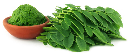 Moringa leaves with paste on a brown bowl over white background   Stock Photo